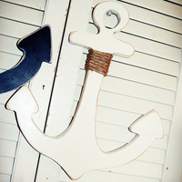 Shabby Chic 13-18 inch wooden anchor Nautical Home Decor