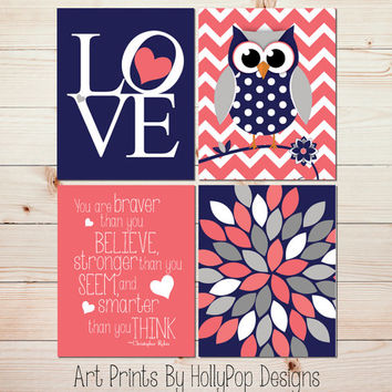 Coral navy nursery decor Baby Girl Nursery Wall Decor You are Braver than you believe Wooldand Owl Nursery Modern Love floral Burst 0844