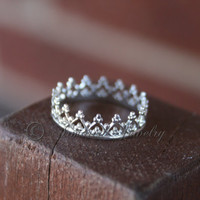 Sterling Silver Princess Prince Royal Crown Ring - Style 1
