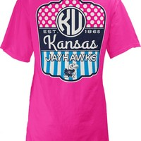 KU Jayhawks Jayhawks Pink Lollipop Short Sleeve Ladies Fit Tee