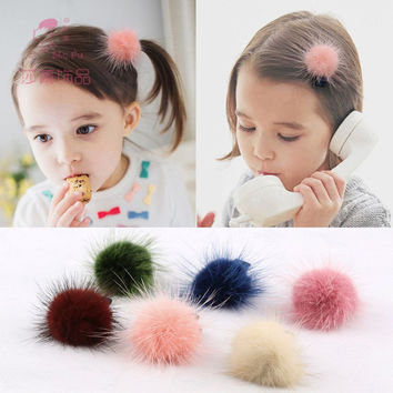 Children's cute mink comfortable for dovetail rubber bands hair accessories for girls baby scrunchies kids headwear ornaments