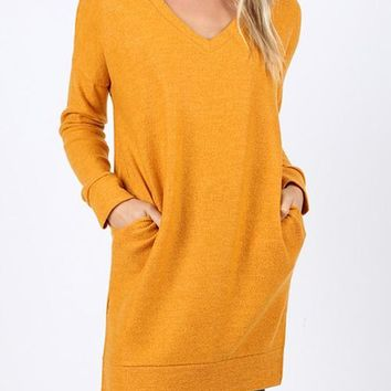 Long Sleeve Brushed Melange Sweater
