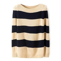 ZLYC Women Girls Simple Striped Long Sleeve Casual Pullover Knit Wear Sweater