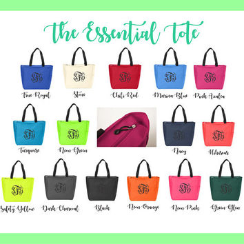 Monogram Tote Bags - Personalized Zip Shut Canvas Totes - Bridal Party, Bridesmaid, Greek, Teacher Gift, Mom, Essential Tote
