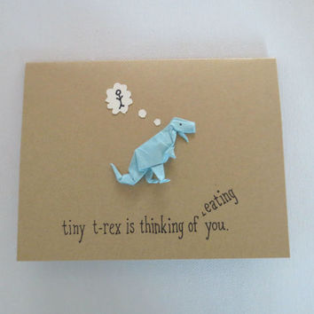 funny thinking of you card, dinosaur card, funny card, friend card, i miss you card, origami card, hello card, t-rex card, card for friend