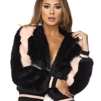 First Base Faux Fur Bomber Jacket