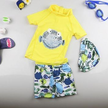Korean Style Baby Boy Swimwear Kids Children Two Piece Swimsuit for Boys Quick Dry Puffer fish Printed Swim Trunks set Yellow