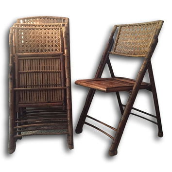 Beautiful Set of 4 Antique Vintage Folding Tortoise Bamboo & Cane Chairs