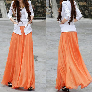 women's orange silk Chiffon 8 meters of skirt circumference long dress maxi skirt maxi dress   XS-L