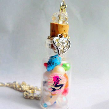 Mermaid Necklace, Mermaid Bottle Charm Necklace, Mermaid's Treasure Necklace, Mermaid Jewelry, Nautical Necklace, Ocean Bottle Necklace