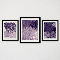 "Modern Floral Burst Set of Three. Abstract Flowers. Minimalist. Shades of Purple. Living Room. Bedroom. Bathroom. Kitchen. 8.5x11"" Prints."