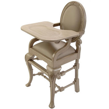 Oval Highchair in Distressed Gray