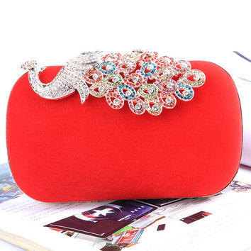 Banquet Bag Multicolor Rhinestones Metal Peacock Lock Buckle Hand Bag Shoulder Messenger Bag