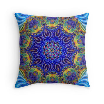Custom made decorative throw pillow, home decor. abstract oriental peacock blue design. Indian, moroccan, turkish