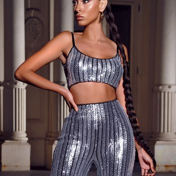 Radiation Vibe Silver Sequin Crop Top