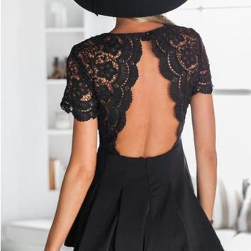 HOT CUTE Lace stitching v-neck backless sexy conjoined shorts
