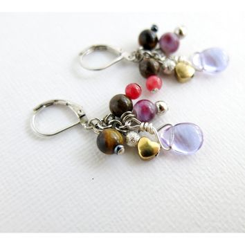 Lilac Glass Cluster Earrings - gold heart tigereye glass pewter red glass purple rain teardrop - rhodium lever back