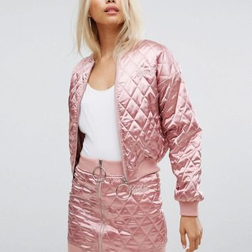 Missguided Barbie Quilted Bomber Jacket & Skirt Co-Ord at asos.com