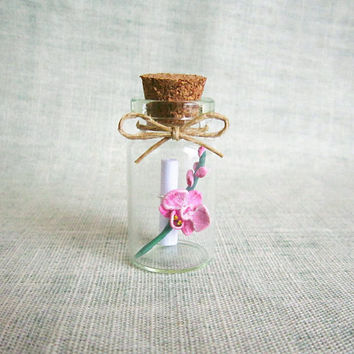 Mothers day gift idea, Message in a bottle with beautiful Orchid, MADE TO ORDER