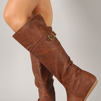 Bank-36 Buckle Round Toe Knee High Flat Boot