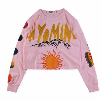 2019SS Kanye West New Album Wyoming Gold Letter Printed Women Men Long Sleeve T shirt Hip hop Streetwear Short Style Tee S-XL