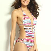 Deep Plunging Neckline Color Lines Swimwear