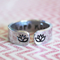 Be here now secret message ring with lotus flowers, customizable ring, yoga ring, secret message ring, quote ring