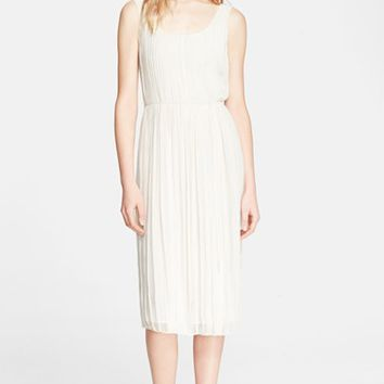 Women's Burberry Brit 'Cece' Silk & Linen Pleat Dress,
