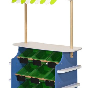 Melissa & Doug Wooden Grocery Store and Lemonade Stand - Reversible Awning, 9 B