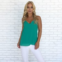 Jersey Shore Tank Blouse In Emerald Green