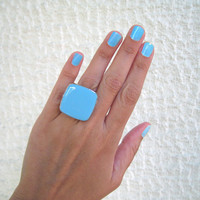 Turquoise Blue statement ring, aqua azure cyan big chunky cocktail silver adjustable glass dome modern summer greek jewelry custom color