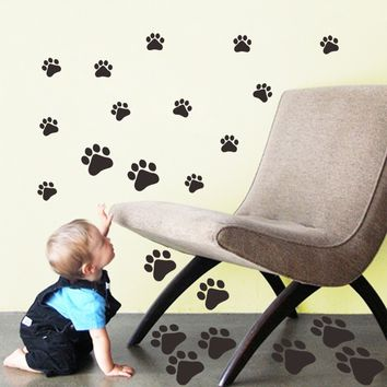 Removable wallpaper 22pcs Dog Paw PRINT STICKERS Lots of Colours Car Wall Stickers Decals Graphics glass paper