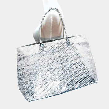 Silver Metallic paper straw beach bag tote, magnetic snap closure with inside pocket