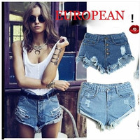 Front Button Hole Fit hot pants High Waisted Denim Jeans denim shorts pants