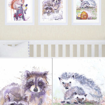 Woodland Nursery Art Set of 3 Prints Watercolor Painting  Boy Nursery Decor Baby Girl Forest Animals Woodland Creatures Watercolour Print