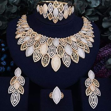 Exquisite Super Luxury Leaves Cubic Zirconia 4pcs Necklace Earring Ring Bangle Dubai Jewelry Set