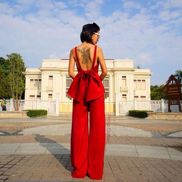 Women's Summer Jumpsuit Red posh sexy open back 70s vintage fashion