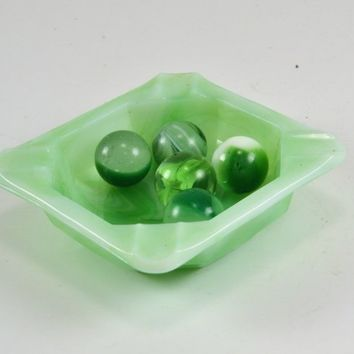 Akro Agate Marbles & Personal Ashtray - Slag Glass Greens  Slag Marble