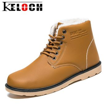 Keloch Winter Ankle Boots Men Keep Warm Plush Winter Shoes For Men High Quality Work Boots Male Safety Botas Hombre