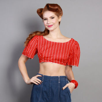 50s 60s Bandana CROP TOP / WESTERN Red Cotton, m - l