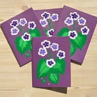 Hand Painted All Occasion Cards With Purple Violets