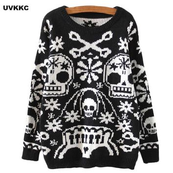 Women Pullovers Skull Design  O Neck Outwear Loose Black Sweater Solid Cotton Loose Knitted Casual
