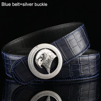 Stefano Ricci Trendy Eagle Head Buttoned Men's Wild Crocodile Belt Blue belt+silver buckle