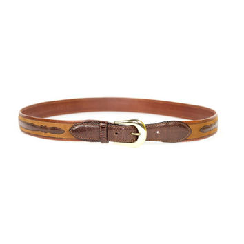 NEW genuine lizard skin leather belt / SAKS FIFTH / ranger belt / brass buckle / western / real spanish leather / brown / size 40