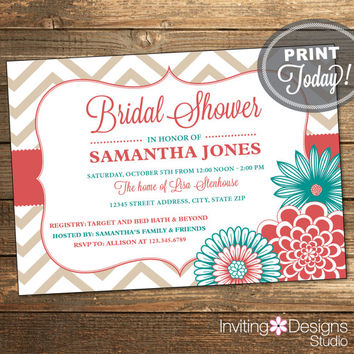 Wedding Shower Invitation, Bridal Shower Invitation, Chevron, Floral, Ribbon, Coral, Aqua, Teal, Printable (Custom Order, INSTANT DOWNLOAD)