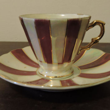Vintage Porcelain Chase Japan Maroon Irridescent Colors Pinwheel Design  Miniature Tea Cup & Saucer