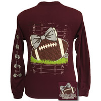 SALE Girlie Girl Originals Preppy Football Team Big Bow Long Sleeves Maroon T Shirt