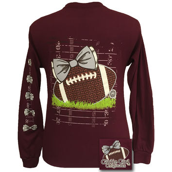 Girlie Girl Originals Preppy Football Team Big Bow Long Sleeves Maroon T Shirt