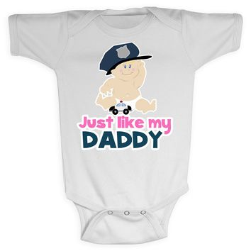 Baby Girl Cop Police Officer Just Like Daddy Baby Bodysuit Shirt