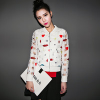 Whhite Plaid Printed Zipper Jacket